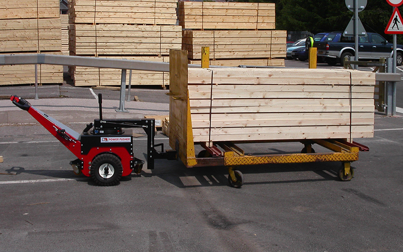 Power Pusher, with Steering Arm, for moving 2,500Kg trolley loaded with timber at sawmill